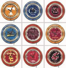 "Choose Your NCAA College P - Z Team 15"" Round Chrome Double Neon Ring Wall Clock"