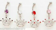 1 PIECE 14g CZ Gem Crown Tiara Dangle Navel Belly Ring Pink Red Clear Purple