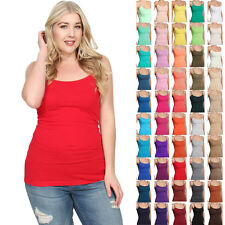 MOGAN Long Basic Spaghetti Strap CAMI TANK TOP Layering Plain All Colors 1XL-3XL
