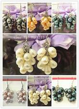8mm Fresh Water Grape Pearl Dangle Earring w. 925 Sterling Silver Hook White