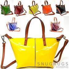 LADIES PATENT REAL LEATHER TOTE SHOULDER BAG BLACK BLUE YELLOW ORANGE RED PURPLE