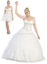 ! SALE ! 2 IN 1 WEDDING DRESS BRIDE BRIDAL GOWN JACKET LACE UP CORSET BACK WHITE