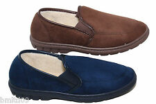 Mens New Brown Navy Blue Faux Suede Faux Sheepskin Lined Twin Gusset Slippers
