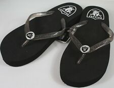 Oakland Raiders Womens Wedge Flip Flop Slippers