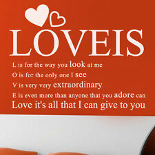M23 LETTERING LOVE IS_LOVELY ROOM WALL DÉCOR STICKER VINYL DECAL DIY+Tracking No