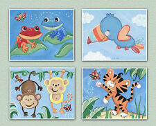 Rainforest, jungle animal, monkey,frog,bird, nursery art, baby wall decor prints