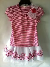 GIRLS 2 PIECE RUFFLED SKIRT & SHIRT PINK & WHITE, Embroidered Flowers New outfit