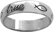 "STERLING SILVER ""true love waits"" PURITY ABSTINENECE RING WITH ICHTHUS FISH"