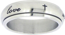 "STAINLESS STEEL ""true love waits"" PURITY ABSTINENECE SPIN RING WITH CROSSES"