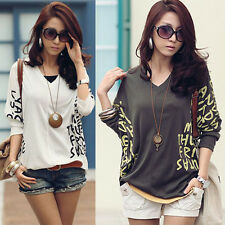 New Women Letter Printed V-neck Loose Batwing Tops Blouse Casual Dolman T-Shirt