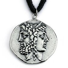 Sterling Silver Antique Janiform Head of Zeus & Hera Greek Coin Necklace #N0454S