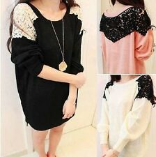 Womens Casual Loose Lace Splicing Knitting Crew Neck Cardigan Coat Sweater Tops