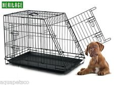 HERITAGE DOG CAGE SLOPING CAR CRATE PUPPY TRAVEL METAL FOLDING SLANTED CAGES