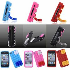 5 Colors Brick Block Rubber Silicone Skin Soft Back Case Cover for iPhone 4/4S