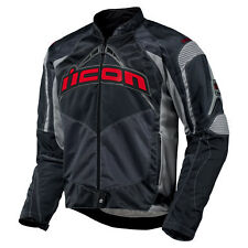 Mens Icon Black Red Contra Textile Motorcycle Riding Street Sport Armored Jacket