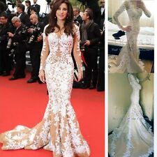Hot Najwa Karam in Cannes 2012 White Lace Applique Evening Gown Celebrity Dress