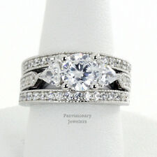 6.5MM Three Stone Round & Trillion CZ 925 Sterling Silver Engagement 3 Ring Set