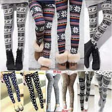 New Fashion Womens Colorful Pattern Retro Knitted Leggings Tights Pants
