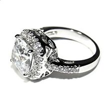 Pave & 6CT Cushion Cut Basket Set 5A Cubic Zirconia Halo Engagement Ring-Rhodium