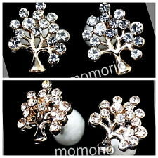 Champagne gold/clear Apple tree leaf branch use swarovski Crystal studs earrings