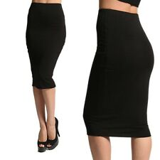 MOGAN Knee Lenght Soft Strechy RAYON SPANDEX SKIRT Wear to Work Casual Bottoms
