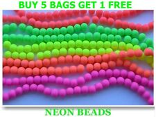 NEW Fluorescent Neon Glass Beads Round SIZES  ! CHEAPEST ON EBAY !