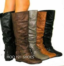 So Cute! Distressed Slouchy Tall Flat Riding Boots *Buckle Knee High Equestrian