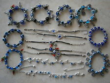 VARIOUS EVIL EYE BRACELET & ANKLET CHOOSE GLASS BEADS RESIN GREEK TURKISH CHARM