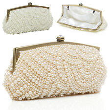 Chic Celebrity Faux Pearl Beaded Evening Party Clutch Chain Shoulder Bags Purses