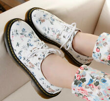 WOMENS RETRO FORAL PRINT HIGH PLATFORM TRENDY FLAT CHUNKY CREEPER SHOES BOOTS