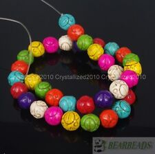 """Mixed Howlite Turquoise Gemstone Carved Round Ball Spacer Loose Beads 12mm 16"""""""
