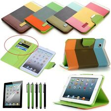 Hybrid PU Leather Wallet Flip Pouch Stand Case Cover For iPad 2 3 4 Mini Stylus
