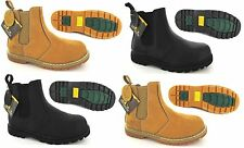 MENS GROUNDWORK DEALER CHELSEA SAFETY WORK BOOTS STEEL TOE CAP SLIP ON PULL NEW