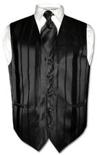 Men's Dress Vest & NeckTie BLACK Striped Woven Neck Tie Design Set