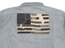 Ralph Lauren Denim and Supply Mens Flag Patch Sun Bleached Chambray Slim Shirt