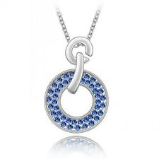 Classic Crystal Circle of Love Pendant w/ 18 Inch 18K White Gold Plated Necklace