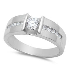 MEN'S ROUND CZ FASHION ENGAGEMENT .925 Sterling Silver Ring SIZES 7-12