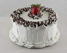 """7"""" Vanilla Frosted Chocolate Cake Realistic Fake Food Birthday Dessert Props"""