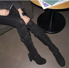 BELT BUCKLE STYLE WOMENS OVER THE KNEE HIGH HEEL & LACE UP MID CALF BOOTS SHOES