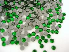 144 Hot Fix Iron On Round Flatback Rhinestones/FREE SHIP/SS10 3mm-Emerald Green