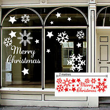 BIG MERRY CHRISTMAS, SNOWFLAKES STARS  - Vinyl Shop Window Sticker, Decal