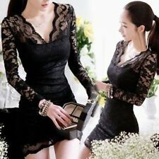 New Women's Sexy Black Lace Long Sleeve Evening Party Cocktail Lace Mini Dress