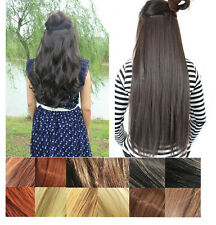 Straight Wavy Curly 3/4 Full Head Clip in Hair Extension One Piece 5 Clips Black