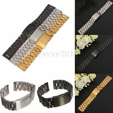 New 16 18 20 22 MM Stainless Bracelet Watch Band Steel Strap Push Button Buckle