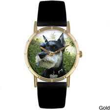 Whimsical Women's Schnauzer Photo Black Leather Strap Watch
