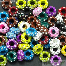 50pcs Big Hole Crystal Rhinestone Pave Rondelle Colored Beads Fit European Charm