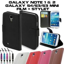 COQUE HOUSSE PORTEFEUILLE CUIR SAMSUNG GALAXY S4 S3/MINI NOTE 1&2 +FILM+STYLET