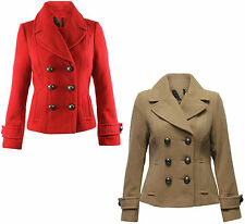 Ladies Ex-Chain Store Double Breasted Pea Coat with Side Pockets