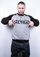 Pull Crewneck Old school - STREET SWAGG Noir manche grise -