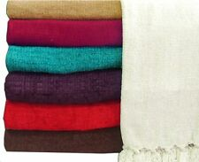 Luxury Plain Chenille Throw -Double or Large 3 Seater Sofa Throw or Bedspread